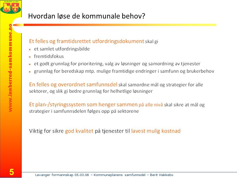 www.innherred-samkommune.no Levanger formannskap 05.03.08 – Kommuneplanens samfunnsdel – Berit Hakkebo 5 Hvordan løse de kommunale behov?