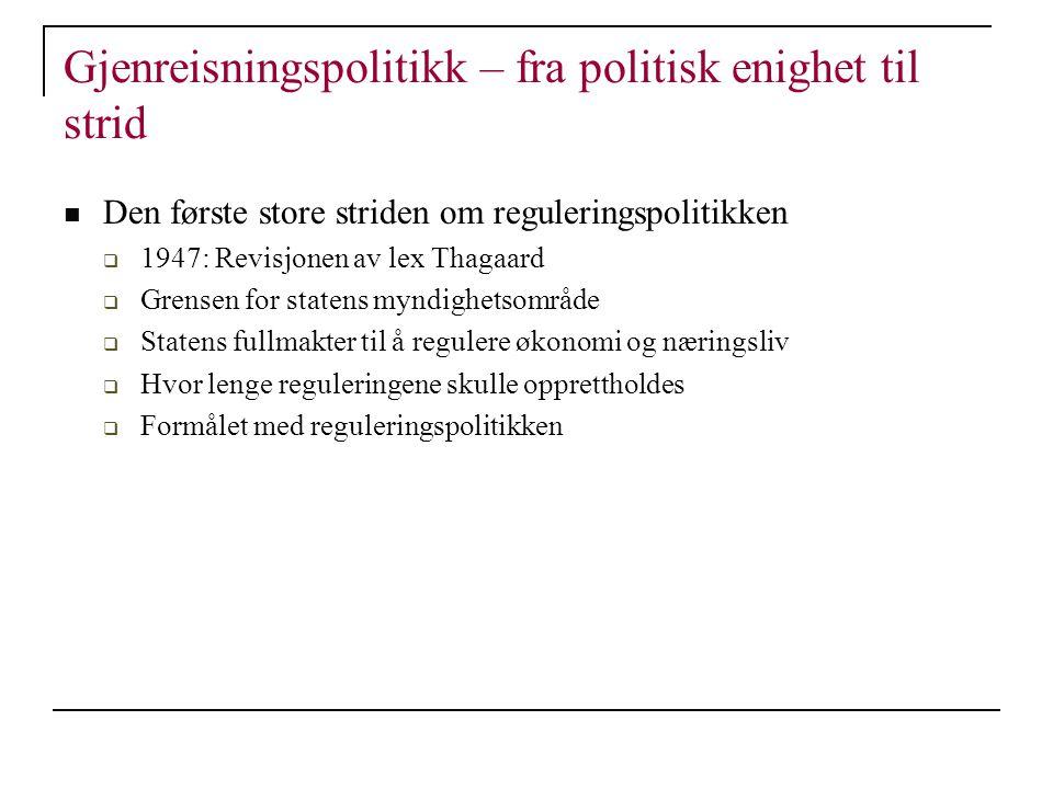 Gjenreisningspolitikk – fra politisk enighet til strid Den første store striden om reguleringspolitikken  1947: Revisjonen av lex Thagaard  Grensen