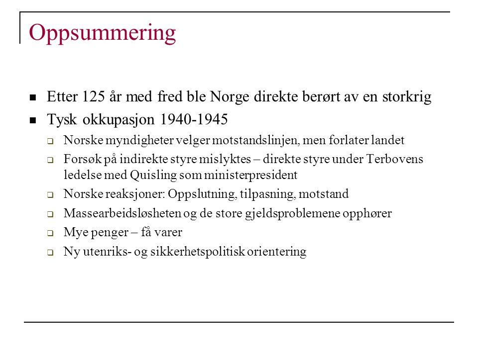 Oppsummering Etter 125 år med fred ble Norge direkte berørt av en storkrig Tysk okkupasjon 1940-1945  Norske myndigheter velger motstandslinjen, men