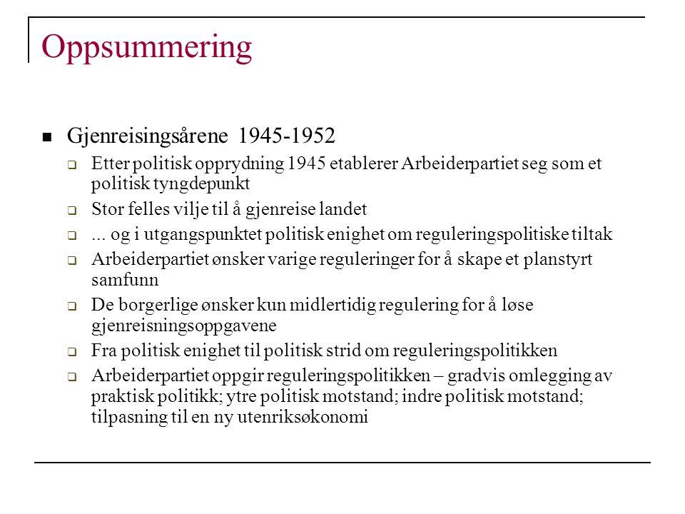 Oppsummering Gjenreisingsårene 1945-1952  Etter politisk opprydning 1945 etablerer Arbeiderpartiet seg som et politisk tyngdepunkt  Stor felles vilj