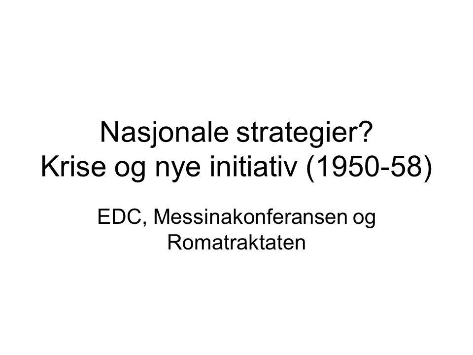 Nasjonale strategier Krise og nye initiativ (1950-58) EDC, Messinakonferansen og Romatraktaten