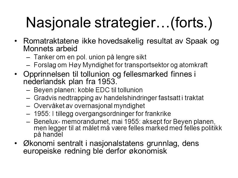 Nasjonale strategier…(forts.) Romatraktatene ikke hovedsakelig resultat av Spaak og Monnets arbeid –Tanker om en pol.