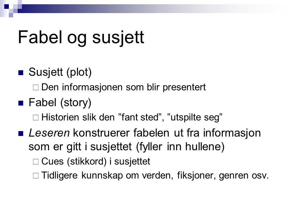"""Fabel og susjett Susjett (plot)  Den informasjonen som blir presentert Fabel (story)  Historien slik den """"fant sted"""", """"utspilte seg"""" Leseren konstru"""