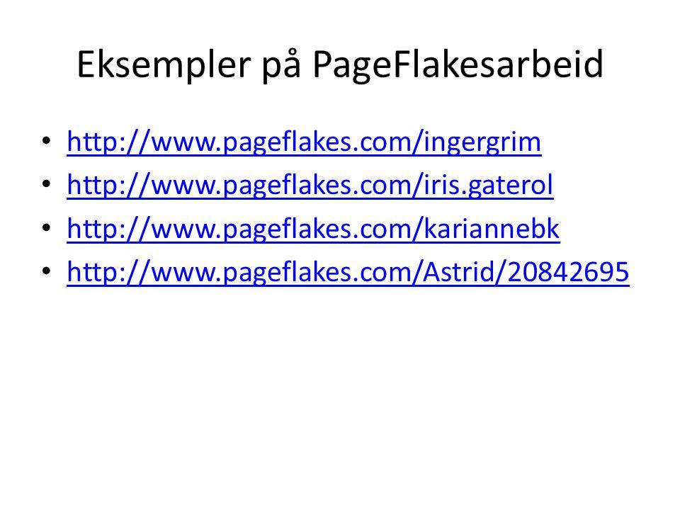 Eksempler på PageFlakesarbeid http://www.pageflakes.com/ingergrim http://www.pageflakes.com/iris.gaterol http://www.pageflakes.com/kariannebk http://www.pageflakes.com/Astrid/20842695