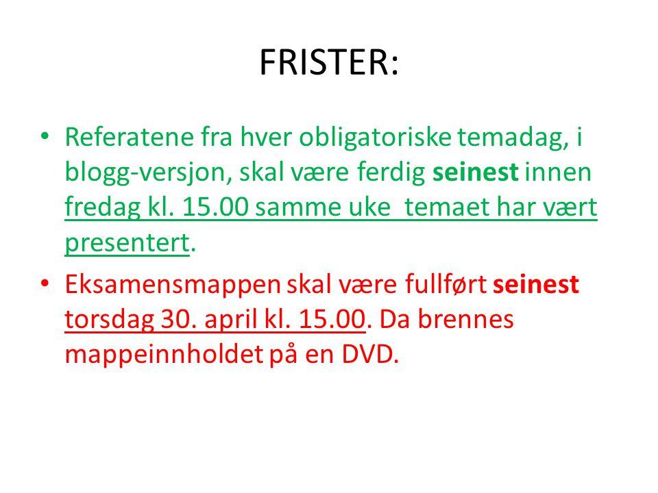 FRISTER: Referatene fra hver obligatoriske temadag, i blogg-versjon, skal være ferdig seinest innen fredag kl.