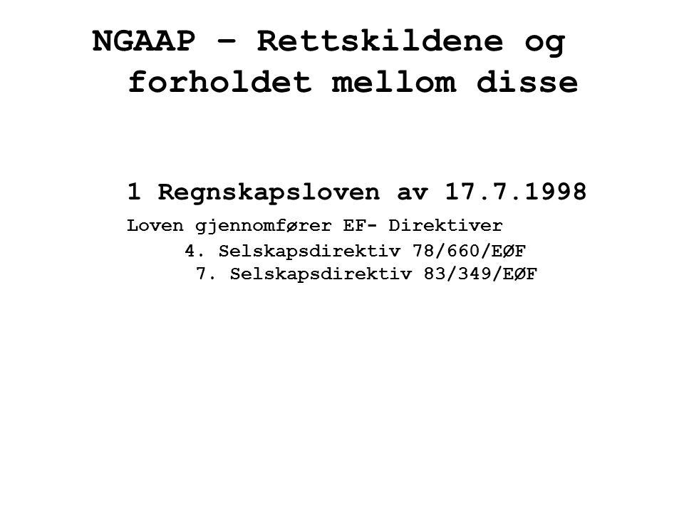NGAAP – Rettskildene og forholdet mellom disse 1 Regnskapsloven av 17.7.1998 Loven gjennomfører EF- Direktiver 4. Selskapsdirektiv 78/660/EØF 7. Selsk