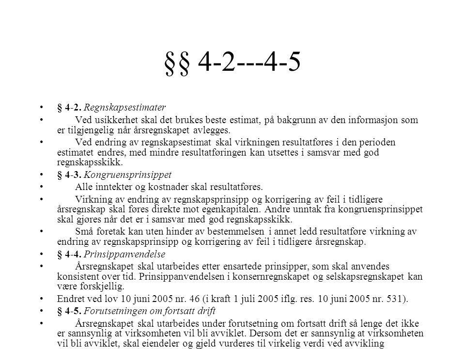 §§ 4-2---4-5 § 4-2. Regnskapsestimater Ved usikkerhet skal det brukes beste estimat, på bakgrunn av den informasjon som er tilgjengelig når årsregnska