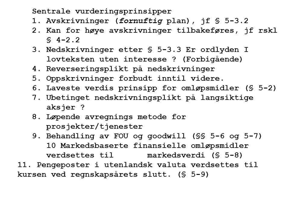 Sentrale vurderingsprinsipper 1.Avskrivninger (fornuftig plan), jf § 5-3.2 2.Kan for høye avskrivninger tilbakeføres, jf rskl § 4-2.2 3.Nedskrivninger