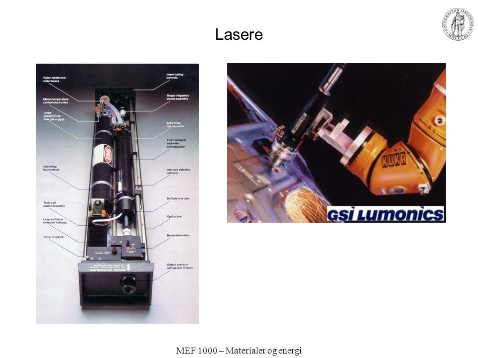 MEF 1000 – Materialer og energi LASER Light Amplification by Stimulated Emission of Radiation Elektroner eksiteres i en krystall eller et gassvolum ve