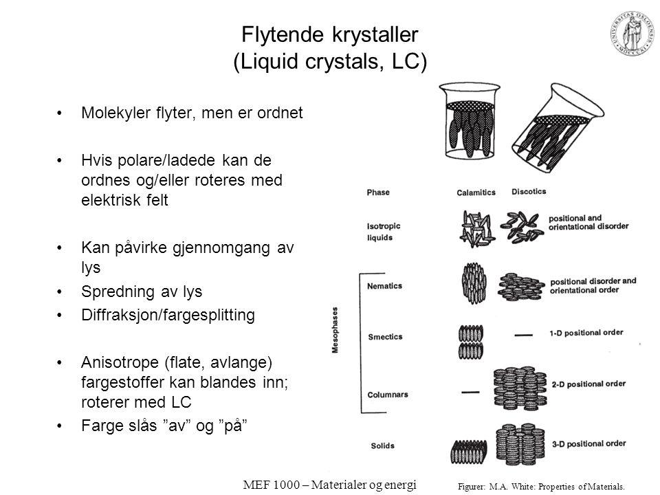 MEF 1000 – Materialer og energi Spredning, interferens; diffraksjon Lysbølger spres av atomer –Faste legemers kanter –Gjennomskinnelige stoffer Interf