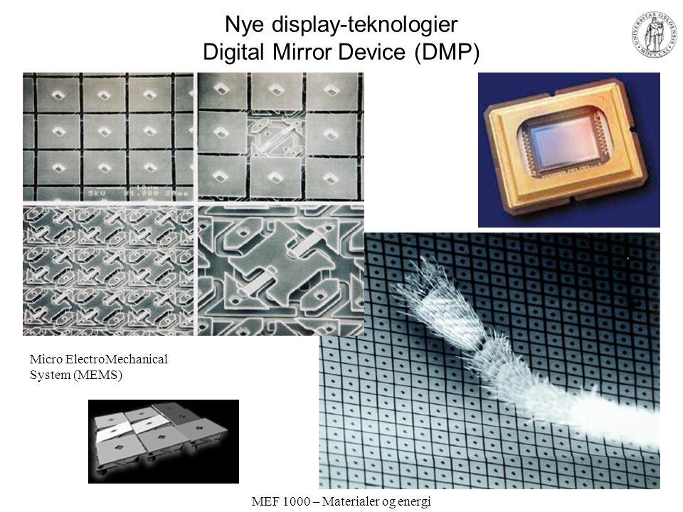 MEF 1000 – Materialer og energi Moderne display-teknologier; LCD-skjerm og LCD-videoprosjektør Figurer: http://www.ProjectorPeople.com