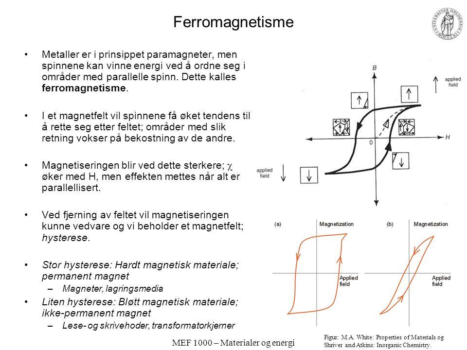 MEF 1000 – Materialer og energi Opphav til magnetisme, forts. Ingen netto spinn: Diamagnetisme –I systemer med fylte skall og i mange d-elektron kompl