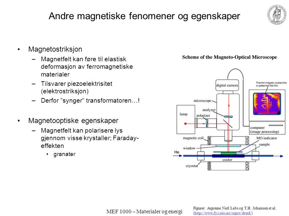 MEF 1000 – Materialer og energi Kraftige permanentmagneter Harde ferromagnetiske materialer –Karbon-stål, AlNiCo –SmCo 5, Sm 2 Co 17 –Nd 2 Fe 14 B Ele