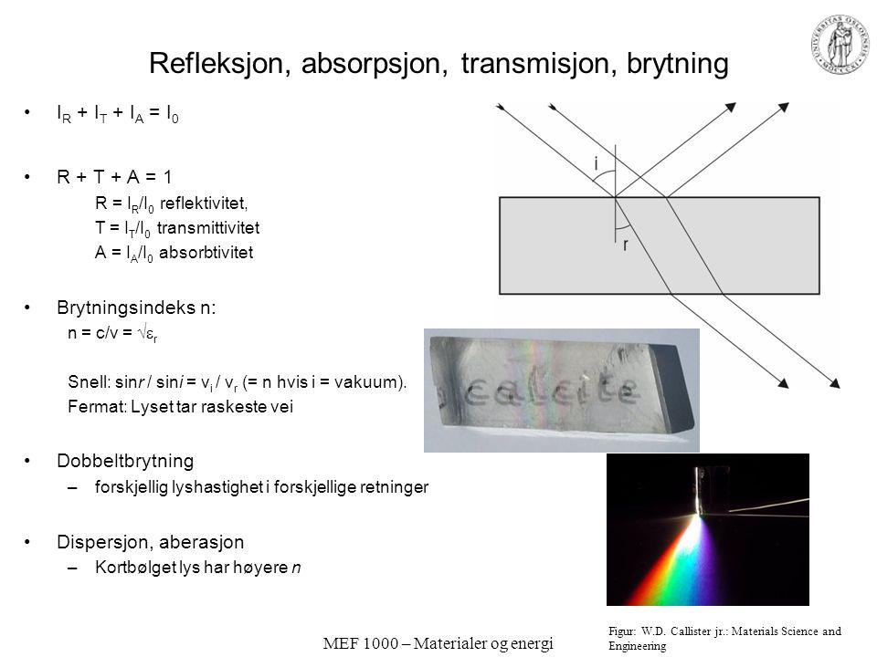 MEF 1000 – Materialer og energi Optiske egenskaper; Lys Lys er elektromagnetisk stråling Energi Farge, frekvens, bølgelengde Polarisert lys: Elektroma