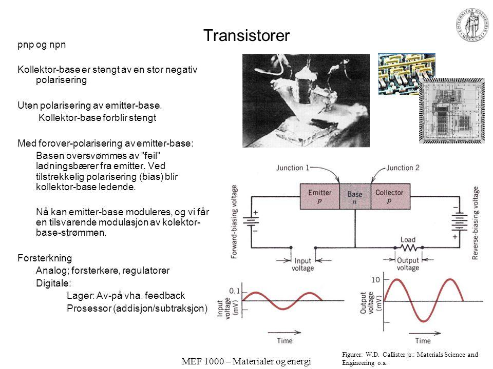 MEF 1000 – Materialer og energi Vanlig AC/DC strømforsyning: Typisk bruk av transformator, dioder (bro-likeretter) og kondensator; Fra http://hyperphy