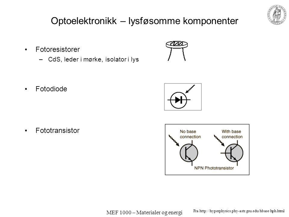 MEF 1000 – Materialer og energi Optoelektronikk – emitterende komponenter Lysdioder; elektroluminescens Halvleder-lasere Fra http://hyperphysics.phy-a
