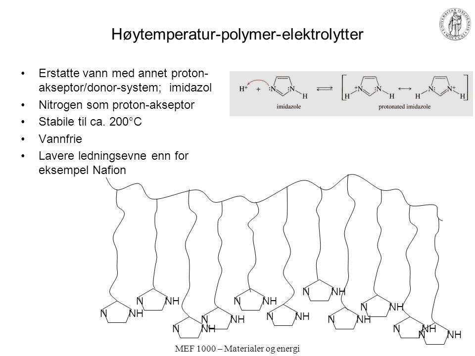 "MEF 1000 – Materialer og energi Begrenset temperaturområde for polymerelektrolytter og andre ""faste"" protonledere Ødelegges irreversibelt ved overopph"
