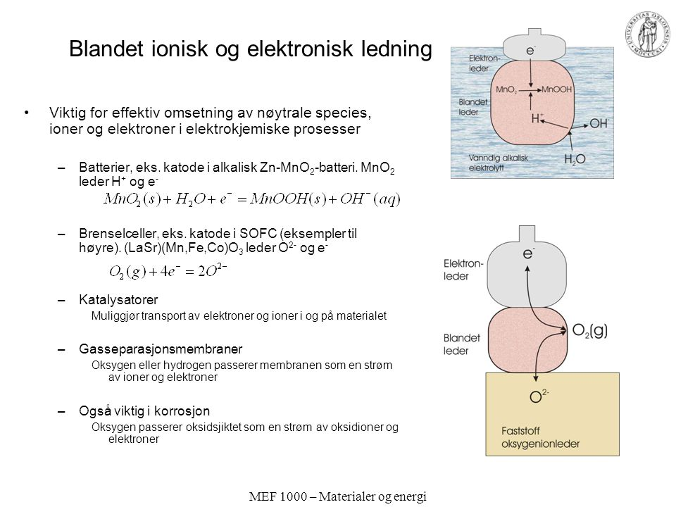 MEF 1000 – Materialer og energi Andre oksygenionledere Fluoritter:  -Bi 2 O 3 (vakanser uten doping) Sm- eller Gd-dopet CeO 2 Perovskitter: BaInO 2.5