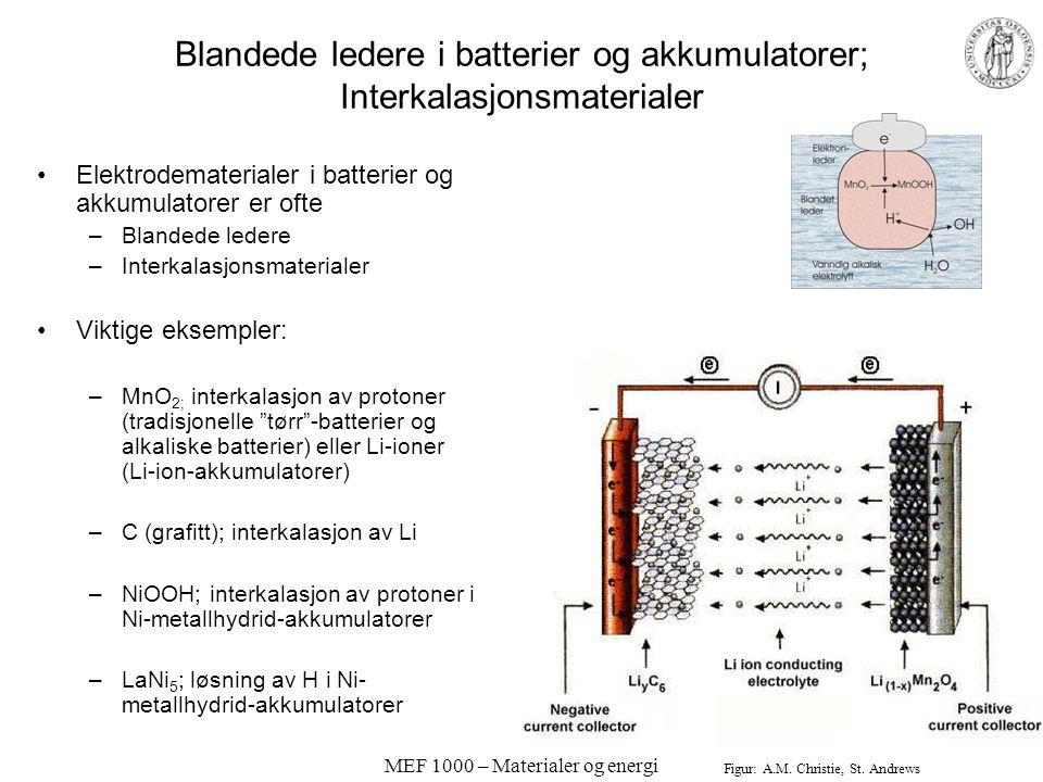 MEF 1000 – Materialer og energi Blandet ionisk og elektronisk ledning Viktig for effektiv omsetning av nøytrale species, ioner og elektroner i elektro