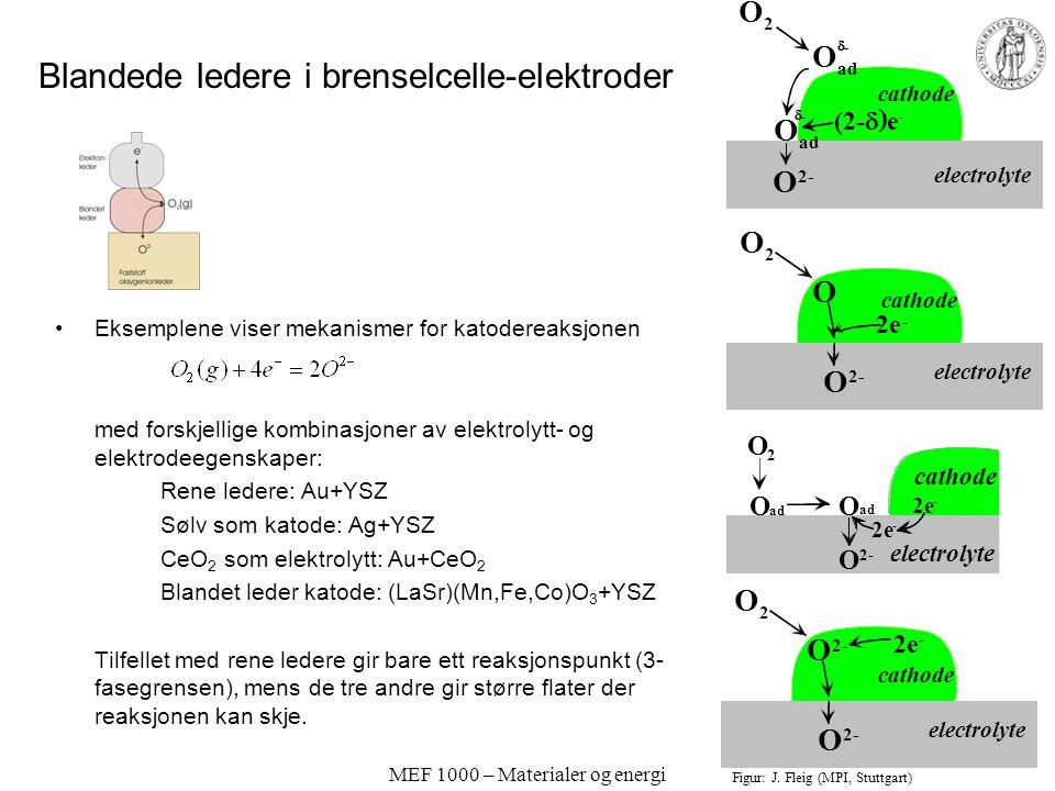 MEF 1000 – Materialer og energi Blandede ledere i batterier og akkumulatorer; Interkalasjonsmaterialer Elektrodematerialer i batterier og akkumulatore