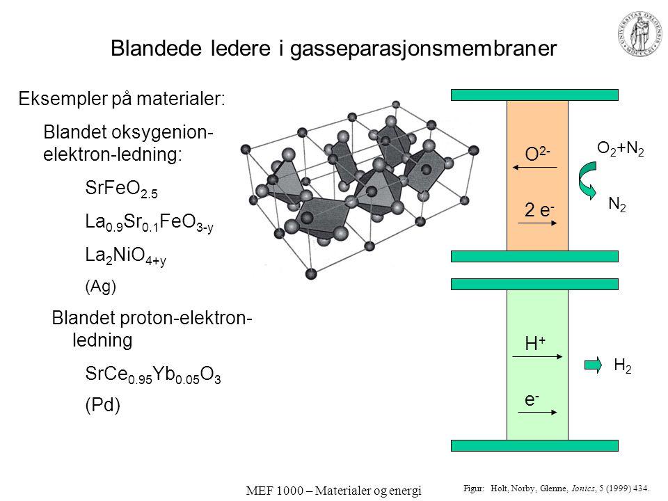 MEF 1000 – Materialer og energi Blandede ledere i brenselcelle-elektroder Eksemplene viser mekanismer for katodereaksjonen med forskjellige kombinasjo