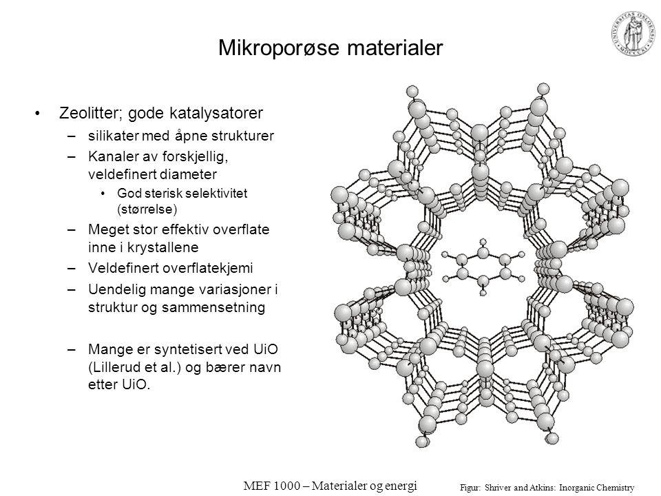 MEF 1000 – Materialer og energi Kinetikk og katalyse Katalysatorer –Øker hastigheten (nedsetter aktiveringsenergien) på en eller flere kjemiske reaksj