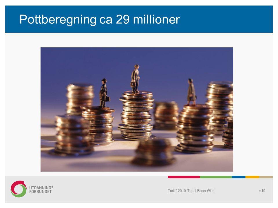 Pottberegning ca 29 millioner Tariff 2010 Turid Buan Øfstis10