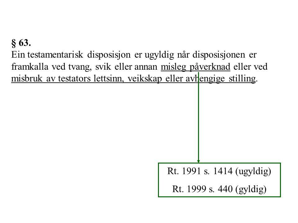 § 63. Ein testamentarisk disposisjon er ugyldig når disposisjonen er framkalla ved tvang, svik eller annan misleg påverknad eller ved misbruk av testa
