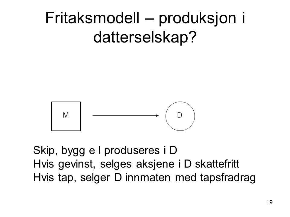 19 Fritaksmodell – produksjon i datterselskap.