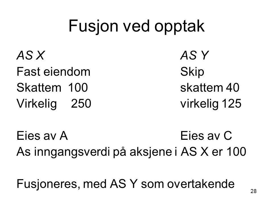 28 Fusjon ved opptak AS X AS Y Fast eiendomSkip Skattem 100skattem 40 Virkelig250virkelig 125 Eies av AEies av C As inngangsverdi på aksjene i AS X er 100 Fusjoneres, med AS Y som overtakende
