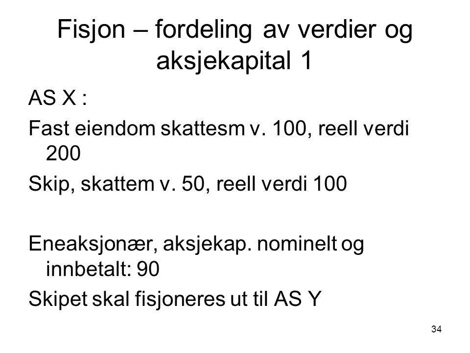 34 Fisjon – fordeling av verdier og aksjekapital 1 AS X : Fast eiendom skattesm v.