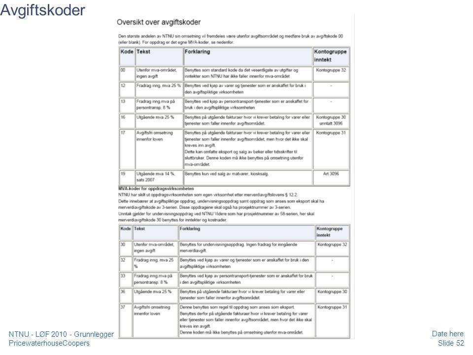 PricewaterhouseCoopers Date here Slide 52 NTNU - LØF 2010 - Grunnleggende kurs regnskap, prosjekt og merverdiavgift Avgiftskoder
