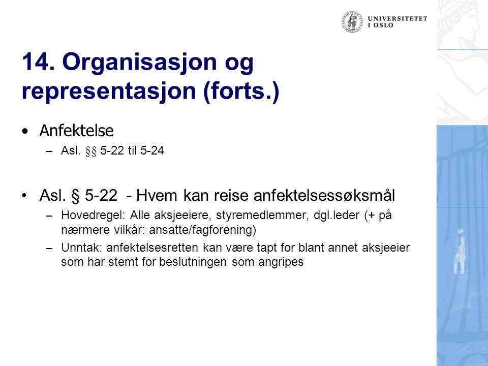 14. Organisasjon og representasjon (forts.) Anfektelse – Asl. §§ 5-22 til 5-24 Asl. § 5-22 - Hvem kan reise anfektelsessøksmål –Hovedregel: Alle aksje