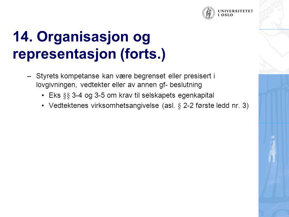14. Organisasjon og representasjon (forts.) – Styrets kompetanse kan være begrenset eller presisert i lovgivningen, vedtekter eller av annen gf- beslu