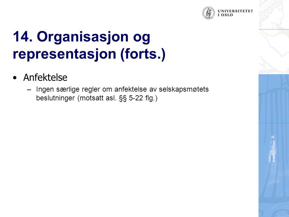 14. Organisasjon og representasjon (forts.) Anfektelse –Ingen særlige regler om anfektelse av selskapsmøtets beslutninger (motsatt asl. §§ 5-22 flg.)