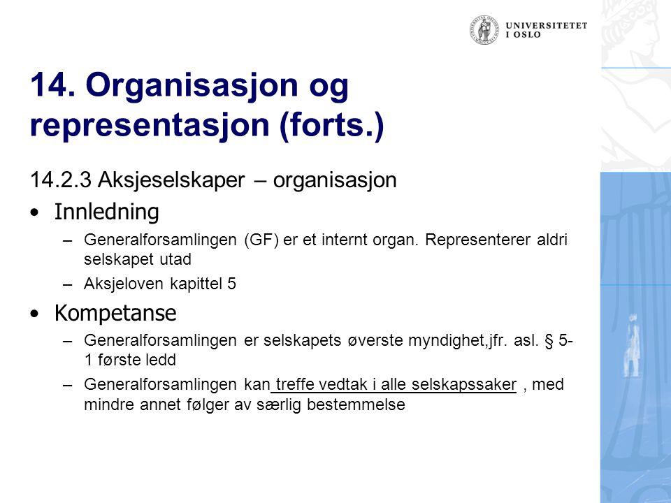 14. Organisasjon og representasjon (forts.) 14.2.3 Aksjeselskaper – organisasjon Innledning –Generalforsamlingen (GF) er et internt organ. Representer