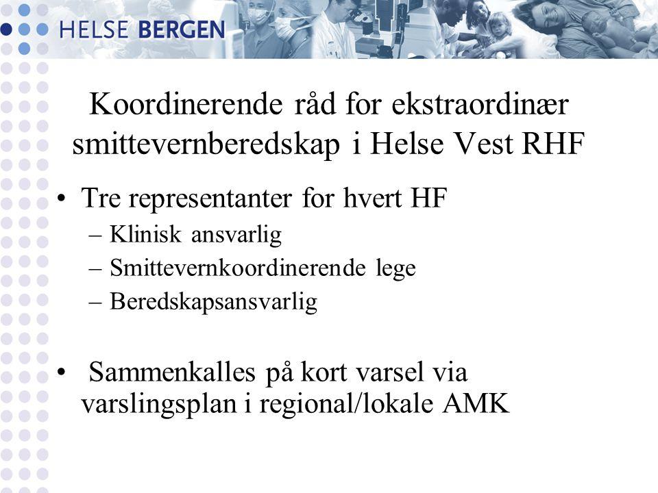 Koordinerende råd for ekstraordinær smittevernberedskap i Helse Vest RHF Tre representanter for hvert HF –Klinisk ansvarlig –Smittevernkoordinerende l