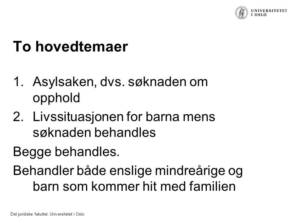 Det juridiske fakultet, Universitetet i Oslo To hovedtemaer 1.Asylsaken, dvs. søknaden om opphold 2.Livssituasjonen for barna mens søknaden behandles