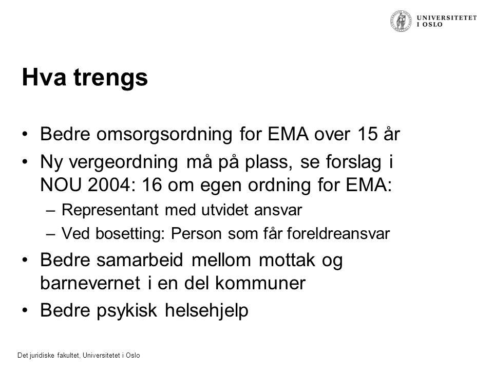 Det juridiske fakultet, Universitetet i Oslo Hva trengs Bedre omsorgsordning for EMA over 15 år Ny vergeordning må på plass, se forslag i NOU 2004: 16