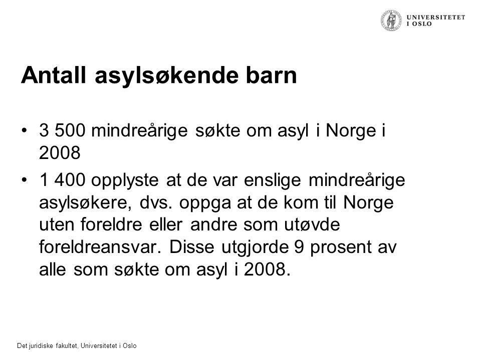 Det juridiske fakultet, Universitetet i Oslo Antall asylsøkende barn 3 500 mindreårige søkte om asyl i Norge i 2008 1 400 opplyste at de var enslige m