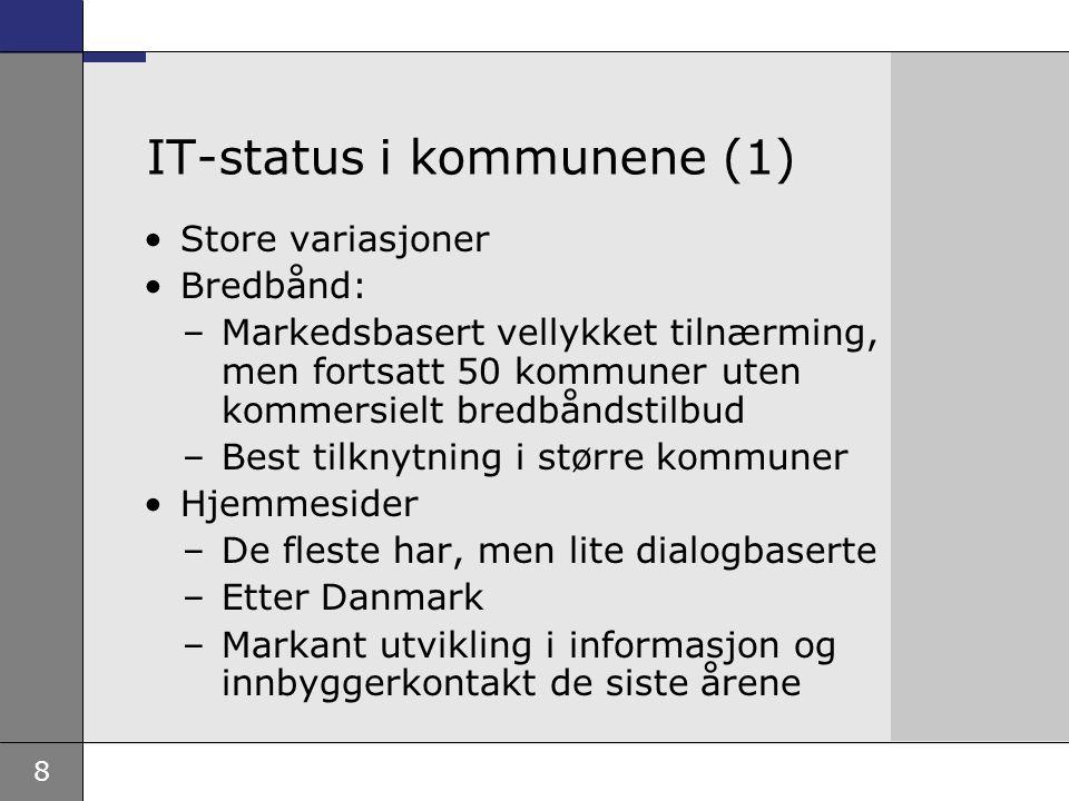 8 IT-status i kommunene (1) Store variasjoner Bredbånd: –Markedsbasert vellykket tilnærming, men fortsatt 50 kommuner uten kommersielt bredbåndstilbud