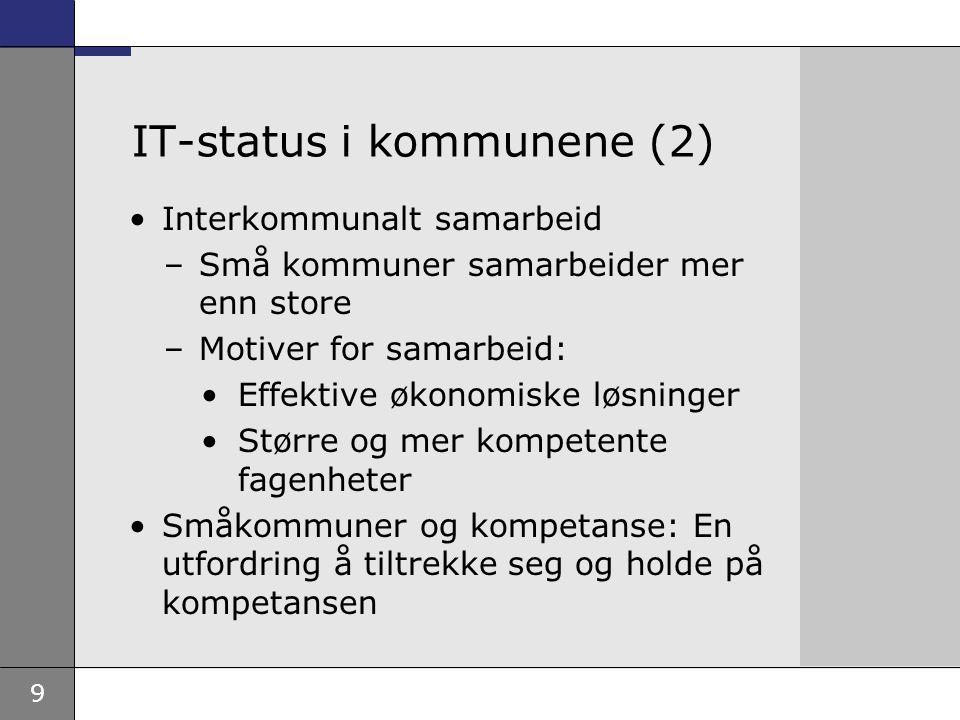 9 IT-status i kommunene (2) Interkommunalt samarbeid –Små kommuner samarbeider mer enn store –Motiver for samarbeid: Effektive økonomiske løsninger Større og mer kompetente fagenheter Småkommuner og kompetanse: En utfordring å tiltrekke seg og holde på kompetansen