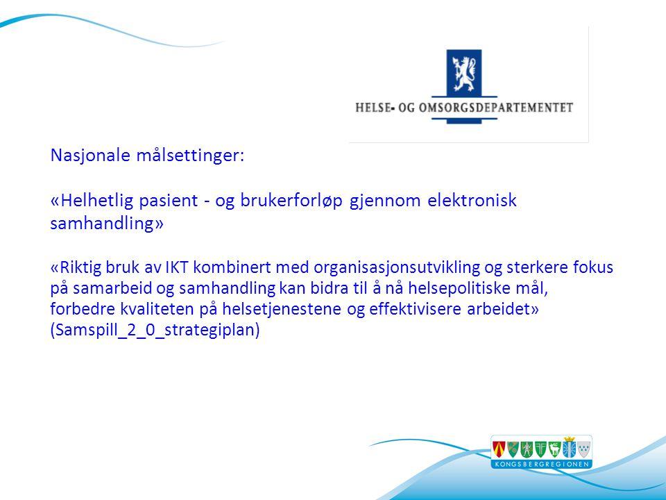 Nasjonale målsettinger: «Helhetlig pasient - og brukerforløp gjennom elektronisk samhandling» «Riktig bruk av IKT kombinert med organisasjonsutvikling