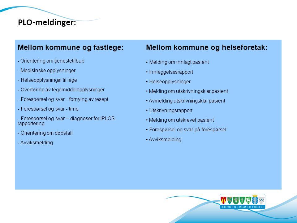 Mellom kommune og fastlege: - Orientering om tjenestetilbud - Medisinske opplysninger - Helseopplysninger til lege - Overføring av legemiddelopplysnin