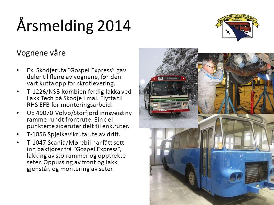 """Årsmelding 2014 Vognene våre Ex. Skodjeruta """"Gospel Express"""" gav deler til fleire av vognene, før den vart kutta opp for skrotlevering. T-1226/NSB-kom"""