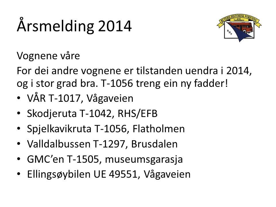 Årsmelding 2014 Vognene våre For dei andre vognene er tilstanden uendra i 2014, og i stor grad bra. T-1056 treng ein ny fadder! VÅR T-1017, Vågaveien