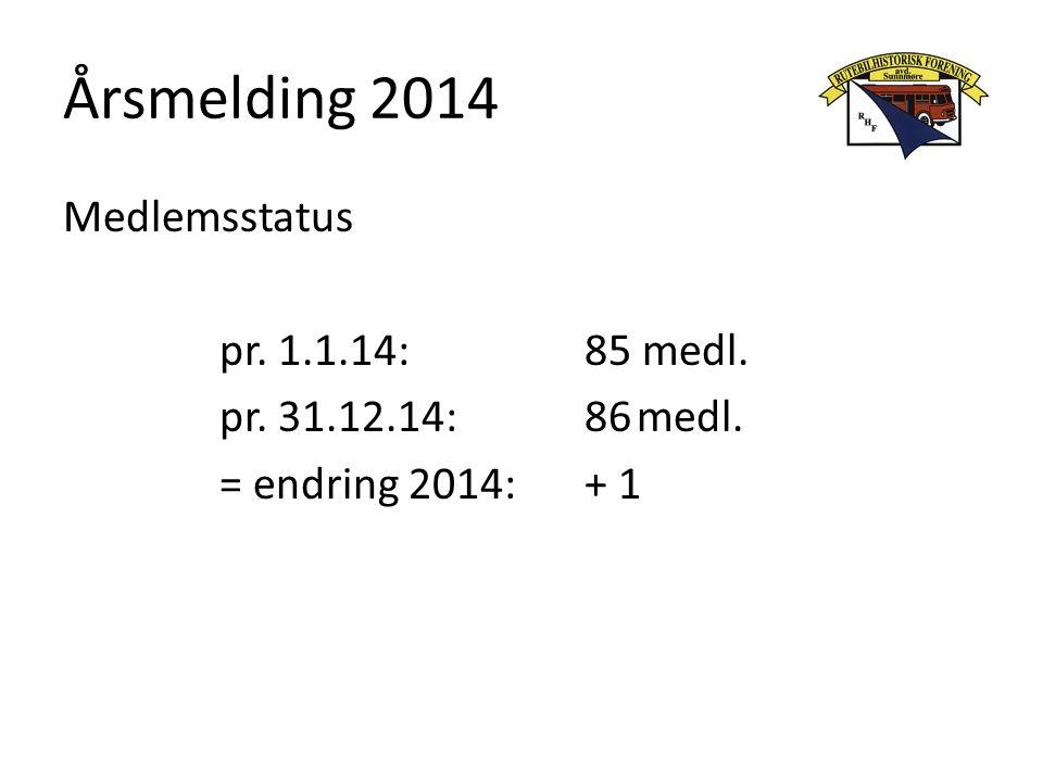 Årsmelding 2014 Medlemsstatus pr. 1.1.14:85 medl. pr. 31.12.14: 86medl. = endring 2014:+ 1