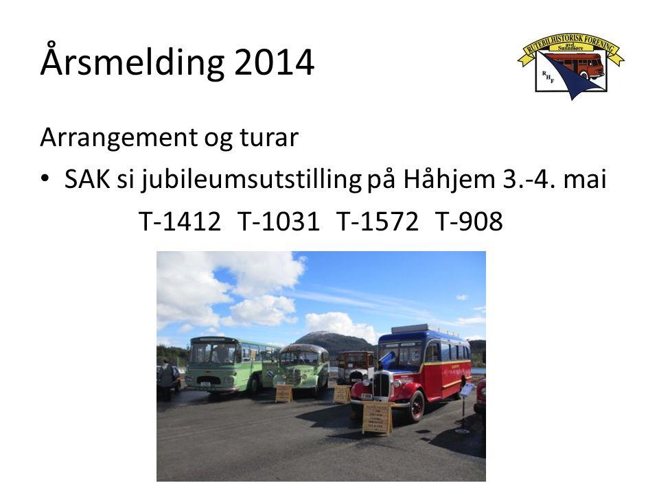 Årsmelding 2014 Arrangement og turar SAK si jubileumsutstilling på Håhjem 3.-4. mai T-1412T-1031T-1572T-908