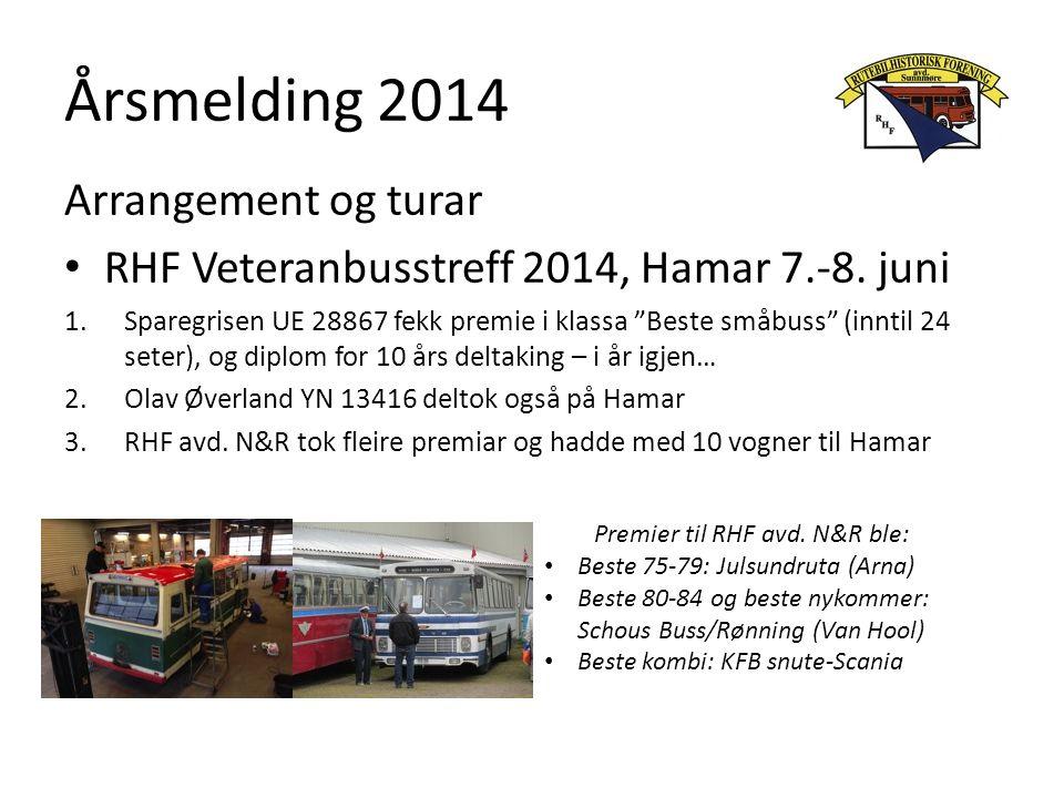 """Årsmelding 2014 Arrangement og turar RHF Veteranbusstreff 2014, Hamar 7.-8. juni 1.Sparegrisen UE 28867 fekk premie i klassa """"Beste småbuss"""" (inntil 2"""