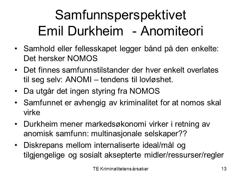 TE Kriminalitetens årsaker13 Samfunnsperspektivet Emil Durkheim - Anomiteori Samhold eller fellesskapet legger bånd på den enkelte: Det hersker NOMOS